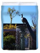 Fountain And Peacock Duvet Cover