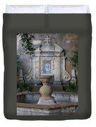 Fountain At Mission Carmel Duvet Cover
