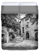 Fountain Courtyard In Eze, France 2, Blk White Duvet Cover
