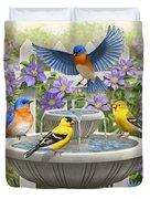 Fountain Festivities - Birds And Birdbath Painting Duvet Cover