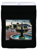 Fountain In Small Town Duvet Cover
