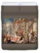Fountain Scene In Front Of A Palace Duvet Cover