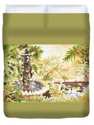 Fountain With Clay Birds Duvet Cover