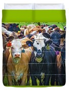 Four At The Fence Duvet Cover