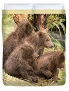 Four Bear Cubs Looking In Same Direction Duvet Cover