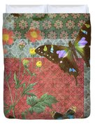 Four Butterfly Patch Green Duvet Cover