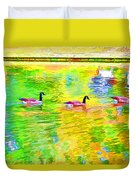 Four Canadian Geese In The Water 1 Duvet Cover