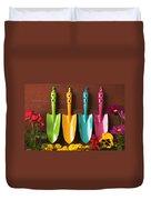 Four Colored Trowels  Duvet Cover