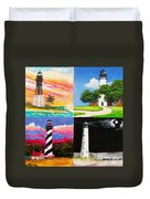 Four Florida Lighthouses Duvet Cover