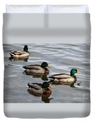 Four Green Heads Duvet Cover