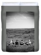 Four Ladies On A Hill Duvet Cover by Meirion Matthias
