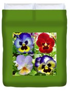 Four Pansies Duvet Cover