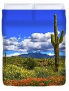 Four Peaks And Poppies, Springtime, Arizona Duvet Cover