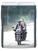 Four People On A Motorbike Duvet Cover