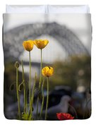 Four Poppies With Harbour Bridge Backdrop Duvet Cover