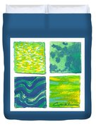 Four Squares Blue, Green, Yellow Duvet Cover