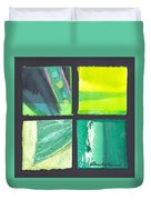 Four Squares Green, Yellow Green, Black Duvet Cover
