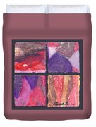 Four Squares Purple, Red, Brown, Lavender Duvet Cover