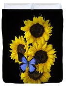 Four Sunflowers And Blue Butterfly Duvet Cover