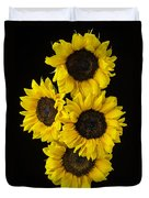 Four Sunny Sunflowers Duvet Cover