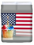 Fourth Of July Cupcake With Light Candle  Duvet Cover