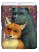 Fox And Bear Couple Duvet Cover