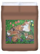 Fox And Kits Duvet Cover