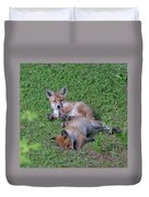 Fox Cubs Chilling Out Duvet Cover