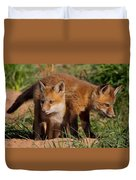 Fox Cubs Playing Duvet Cover by William Jobes