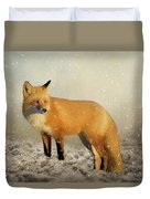 Fox In The Snowstorm - Painting Duvet Cover