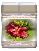 Framed Red Hibiscus Duvet Cover