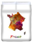 France In Watercolor Duvet Cover