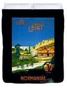 France Normandy Vintage Travel Poster Restored Duvet Cover