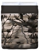 France, Paris, Tree Branches Reflected Duvet Cover