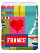 France Vertical Scene - Collage Duvet Cover