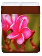 Pink Frangipani Plumeria Flowers Duvet Cover