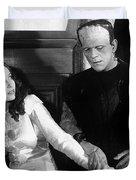 Frankensteins Monster Molests Young Girl Boris Karloff Duvet Cover