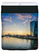 Frankfurt Am Main Skyline At Sunset Duvet Cover