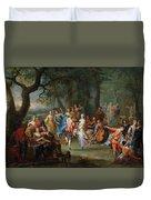 Franz Christoph Janneck Graz 1703-1761 Vienna A Dance In The Palace Gardens, Duvet Cover