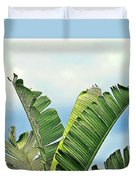 Frayed Palm Fronds Against Blue Sky Duvet Cover