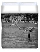 Freedom Is A Seagull Name Black And White Duvet Cover