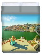 Freedom Woman At Douro River Duvet Cover