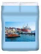 Freighter And Shipping Containers In Port Of Valpaparaiso-chile Duvet Cover