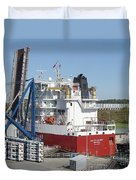 Freighter In Lock Of Saint Lawrence Duvet Cover