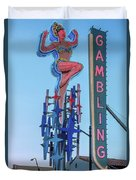 Fremont Street Lucky Lady And Gambling Neon Signs Duvet Cover