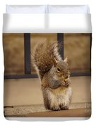 French Fry Eating Squirrel Duvet Cover