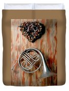 French Horn Hanging On Wall Duvet Cover