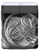 French Horn In Black And White Duvet Cover