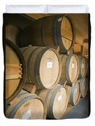 French Oak Barrels Of Wine At Midnight Duvet Cover