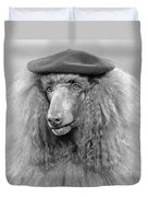 French Poodle Wearing Beret, C.1970s Duvet Cover